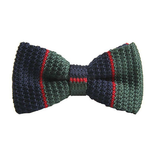 Green/Navy/Red Stripe Knit Bow Tie