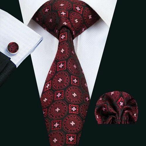 Dark Red/Black Circle Square Tie Set