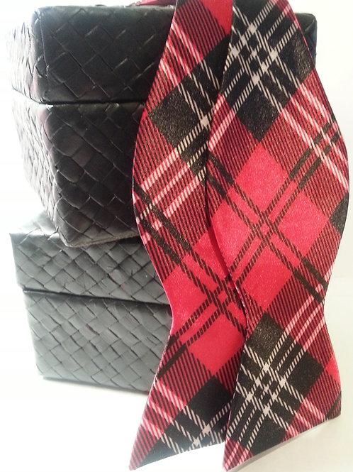 Red Scottish Stripe Stripe Bow Tie
