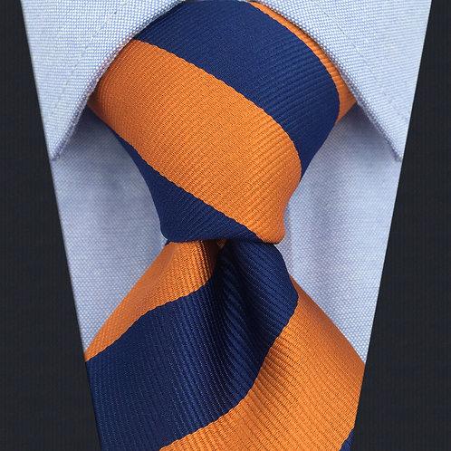 Orange/Navy Schoolboy Stripe