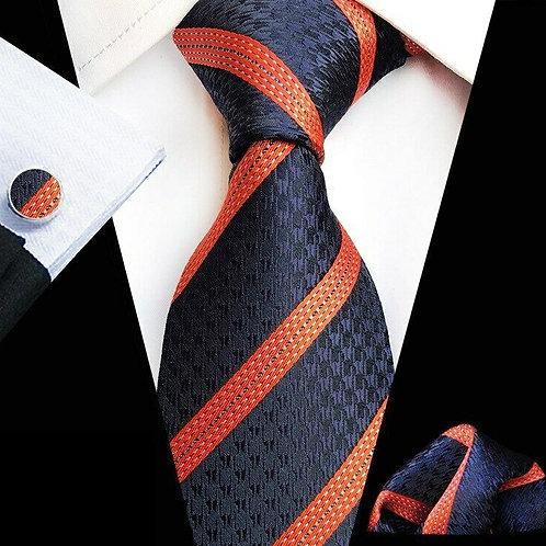 Blue/Orange Multi Stripe Tie Set