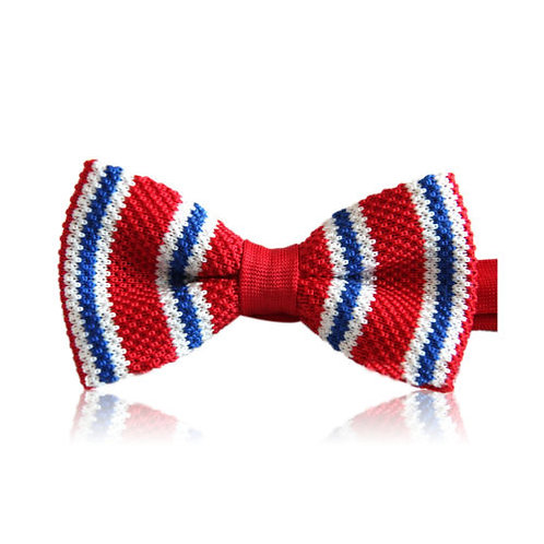 Red White Blue Stripe Knit Bow Tie