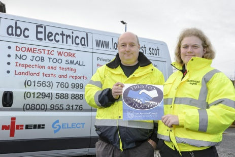 Stewart and Loughlin at the trusted trader launch in front of abc Electrical van