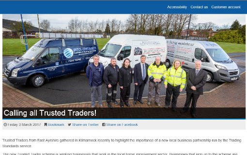 abc Electrical at the Trusted Trader launch at East Ayrshire Council headquatrers
