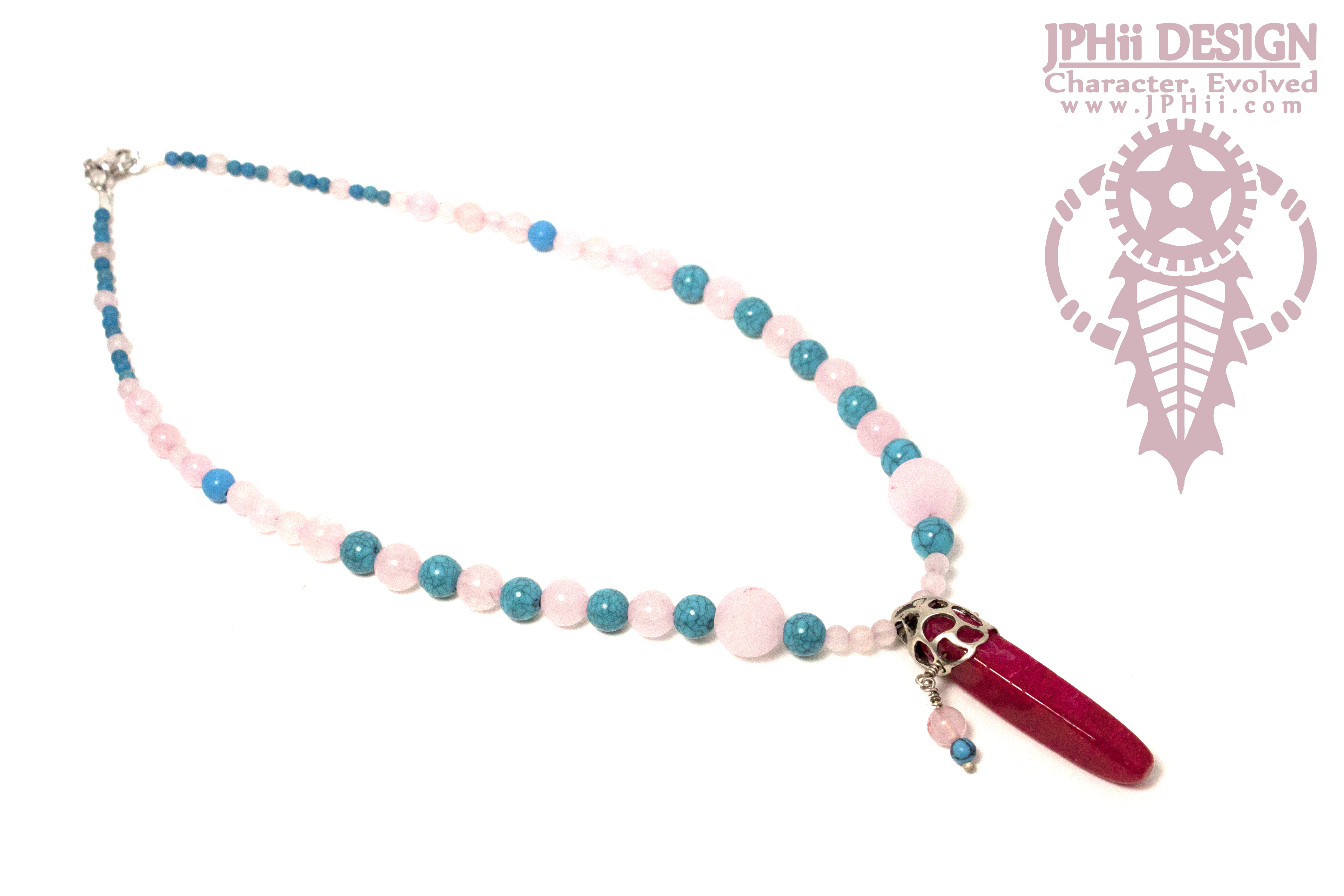 Pink and Blue Serpula Necklace