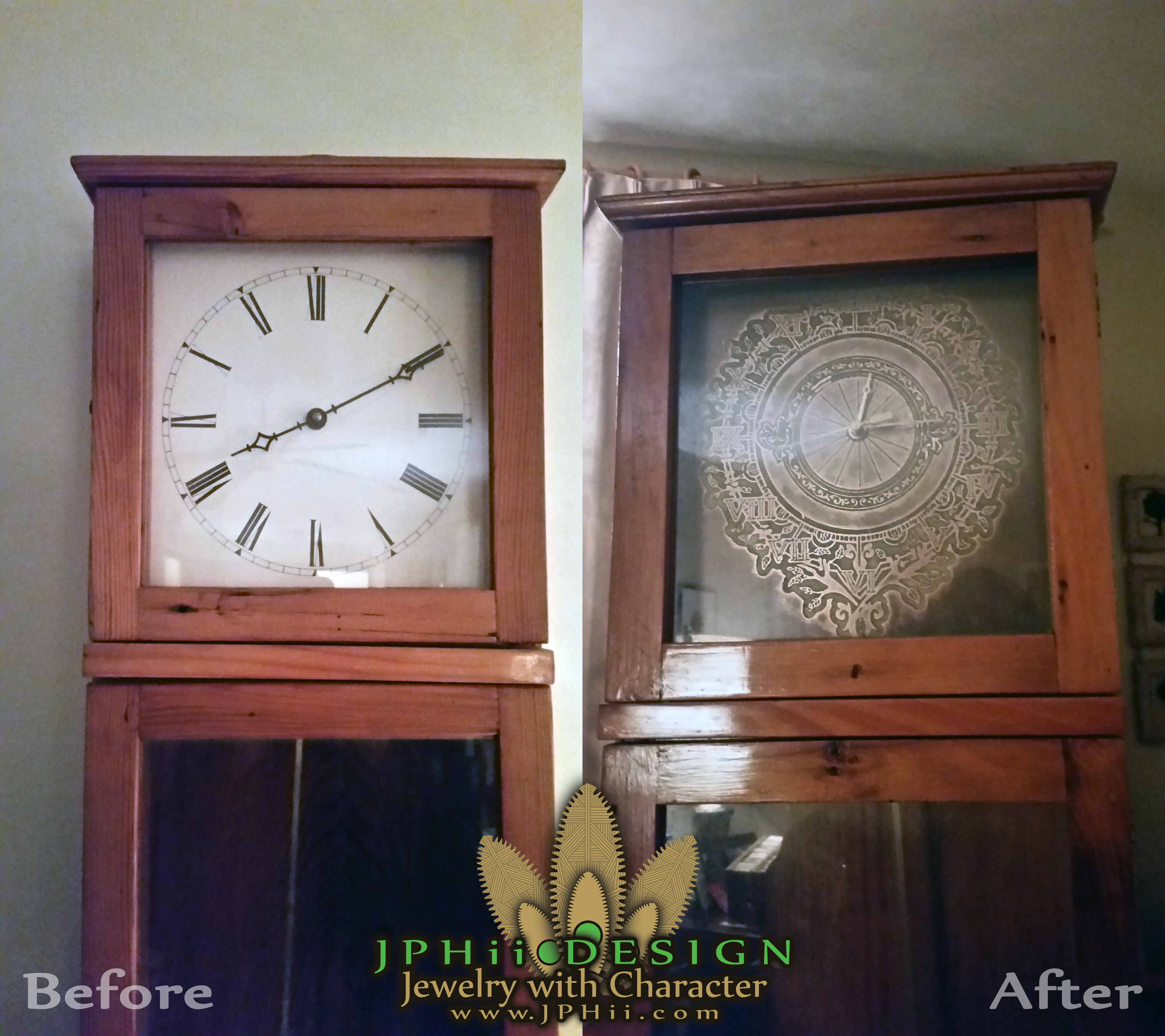 Clock Face Before and After