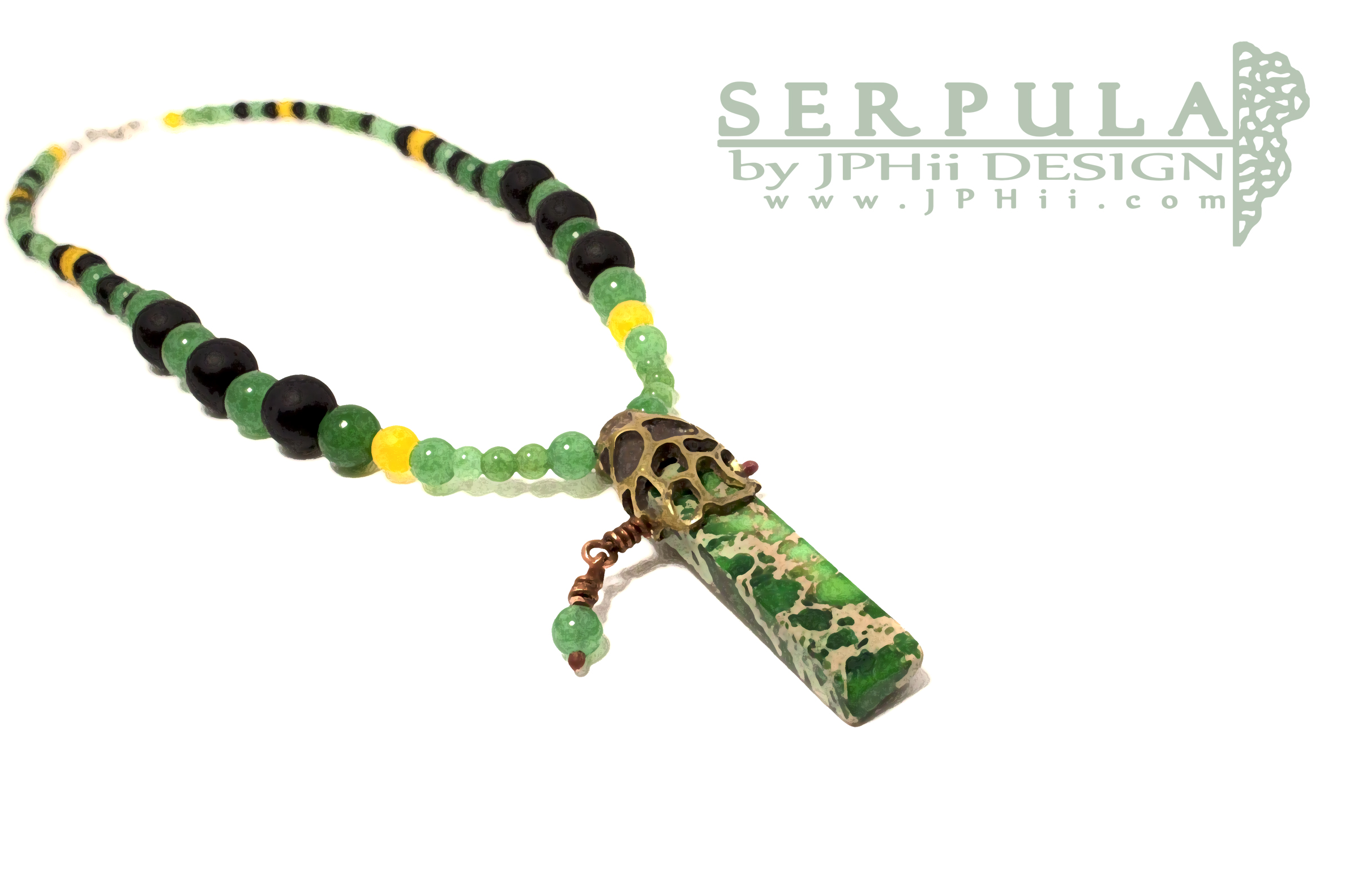 Jasper Brass Serpula Necklace