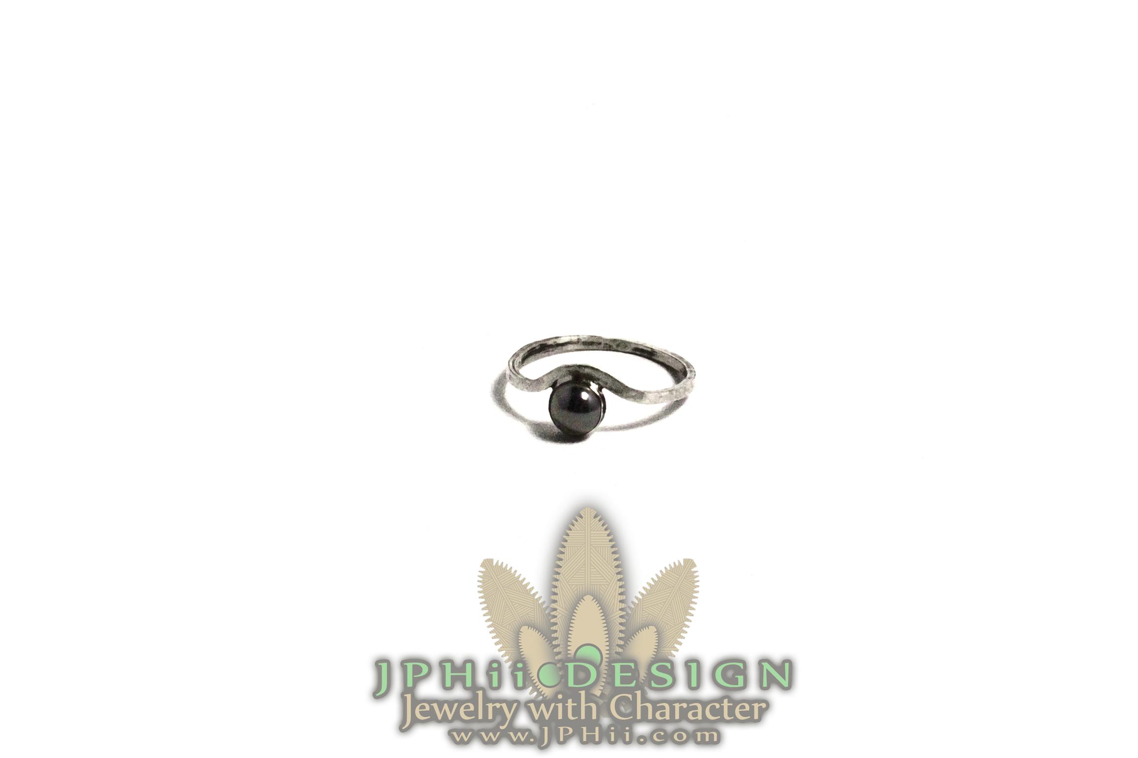 Hammered Hematite Ring