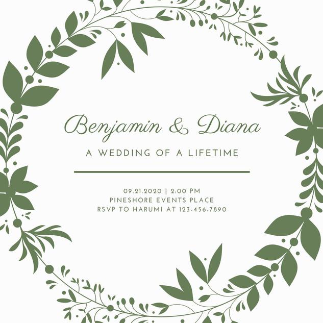 White & Olive Green Wreath Elegant Weddi