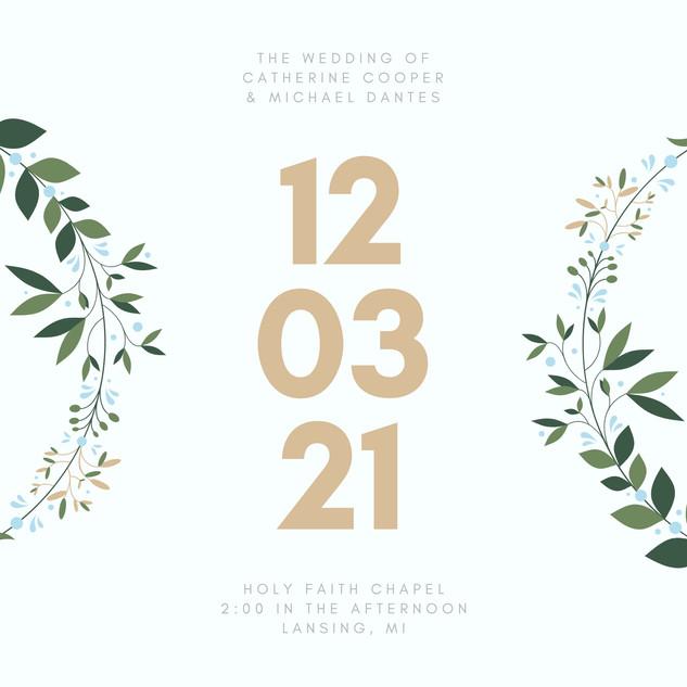 Blue and Gold Wreath Winter Wedding Invi