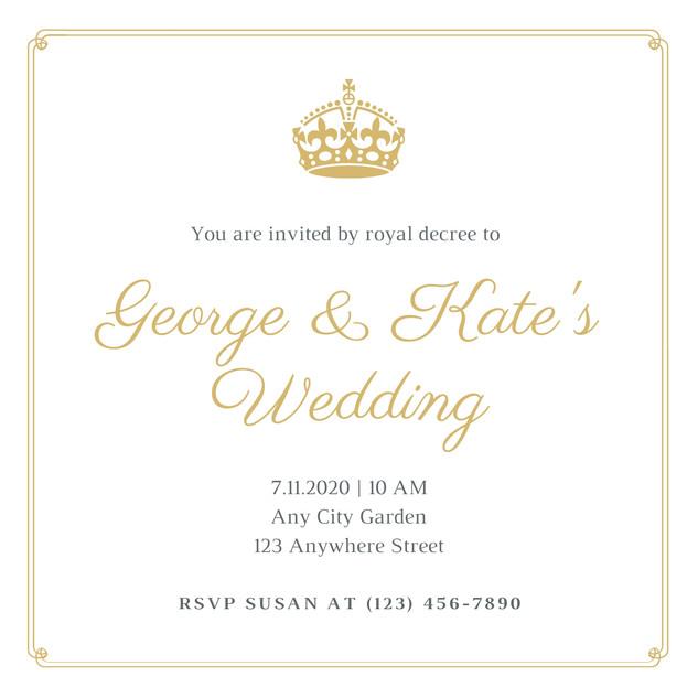 Gold and White Royal Wedding Invitation.