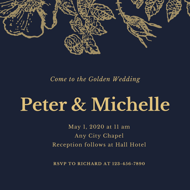 Navy and Gold Golden Wedding Invitation.