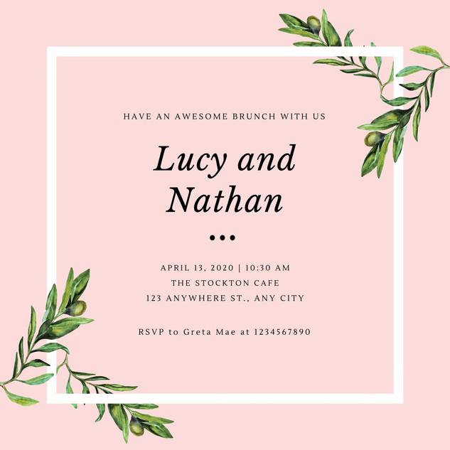 Rose Green Olive Wedding Brunch Invitati