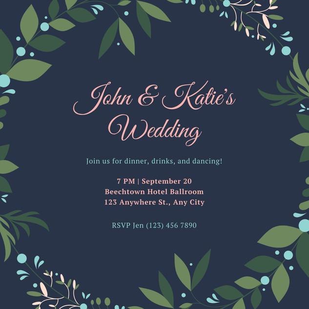 Blue and Pink Wreath Wedding Reception I