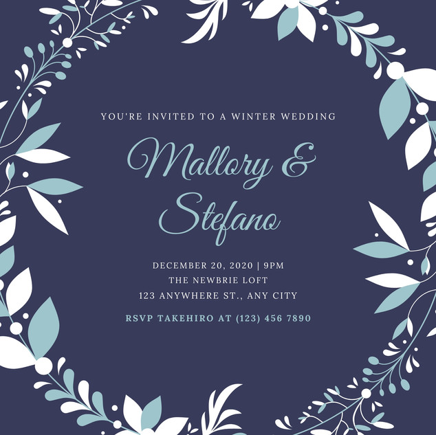 Purple Wreath Winter Wedding Invitation.
