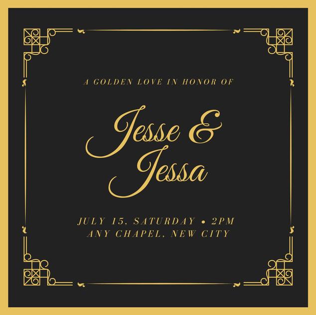 Black and Gold Elegant Gold Wedding Invi