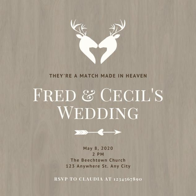 Brown Deer Couple Western Wedding Invita