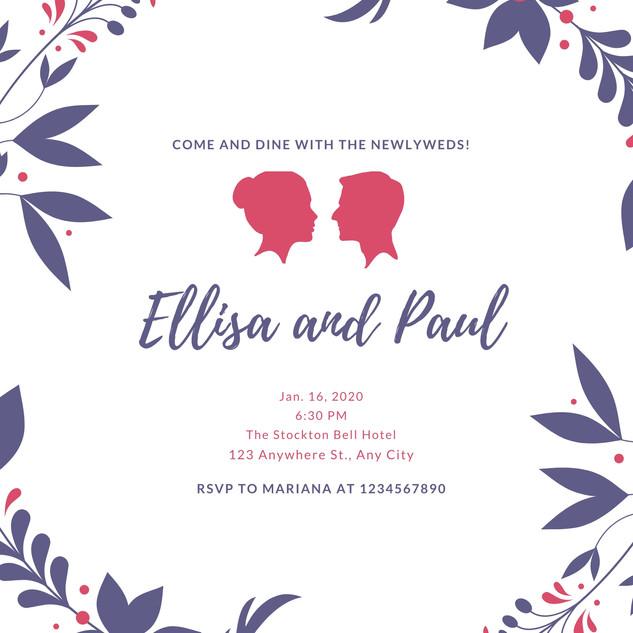Lavender Wreath Wedding Reception Invita