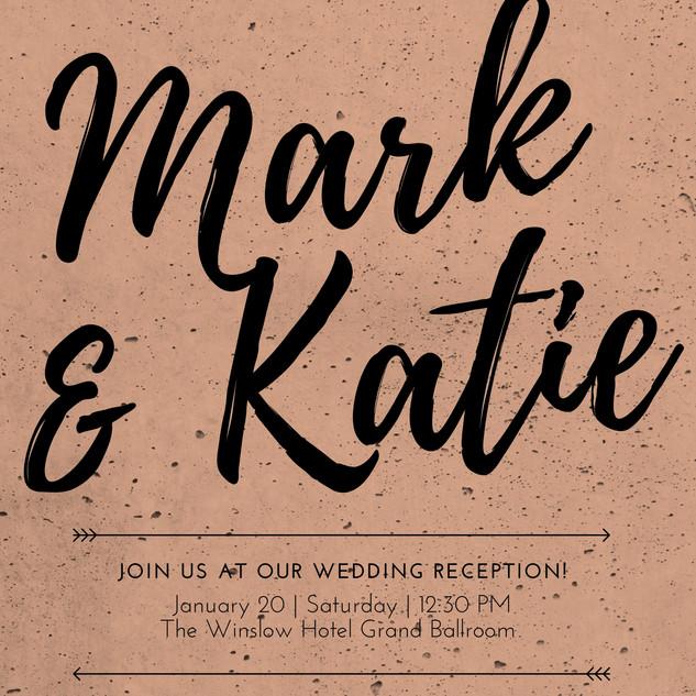 Peach Textured Wedding Reception Invitat