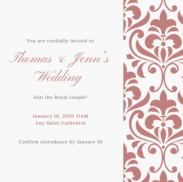 Rose Gold Vintage Royal Wedding Invitati