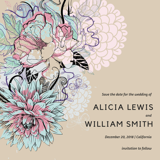 Floral Illustration Save The Date Invita