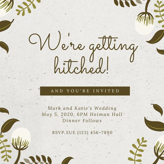 Gray Concrete Wall Country Wedding Invit