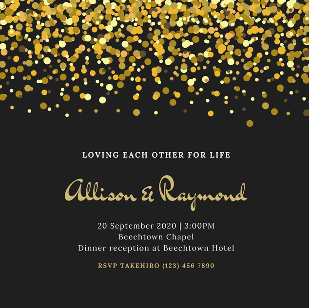 Gold and Black Dots Classic Wedding Invi