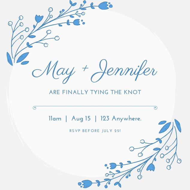 Blue White Floral Letterpress Wedding In