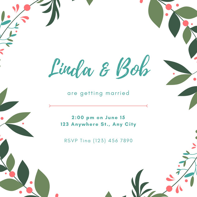 Teal and Peach Leaves Garden Wedding Inv