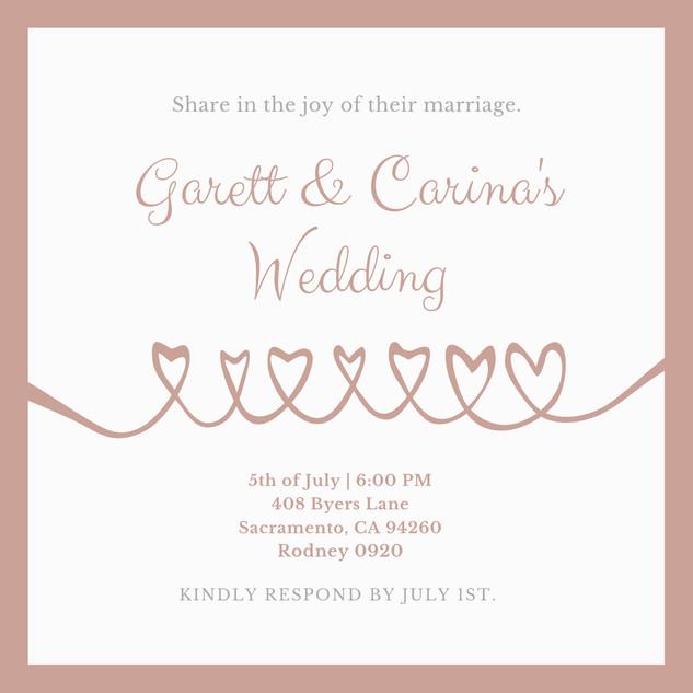 White Rose Gold Simple Wedding Invitatio
