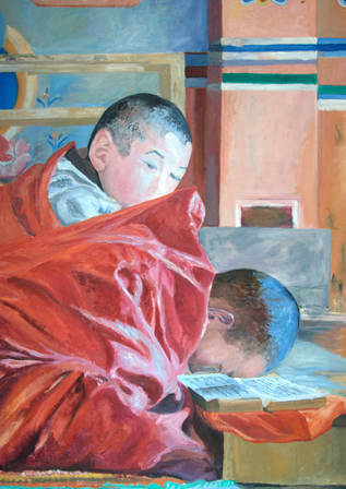 The Monks at study