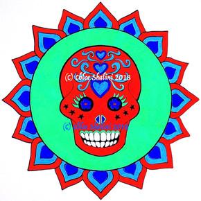 Sugar Skull in lotus 2 red green