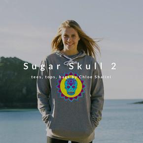 Skull 2 turquoise yellow women's hoodie