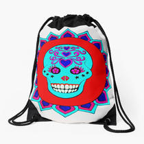 Sugar skull - one of 4 pen designs, shown here on a bag