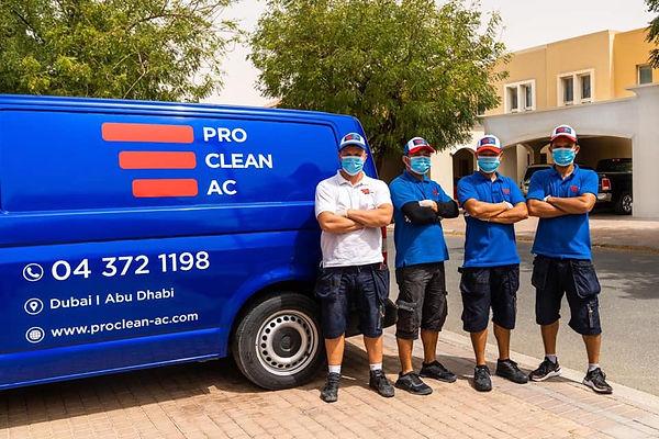 pro clean ac workers and van