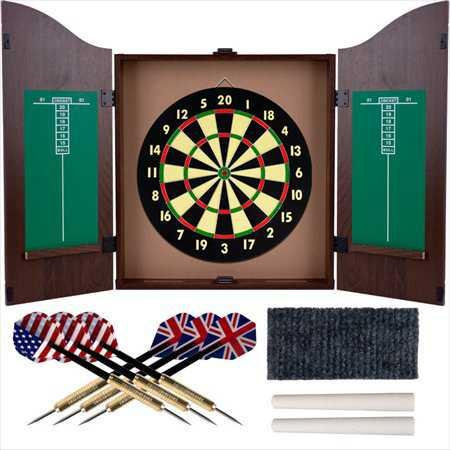 TGT Dartboard Cabinet Set - Realistic Walnut Finis