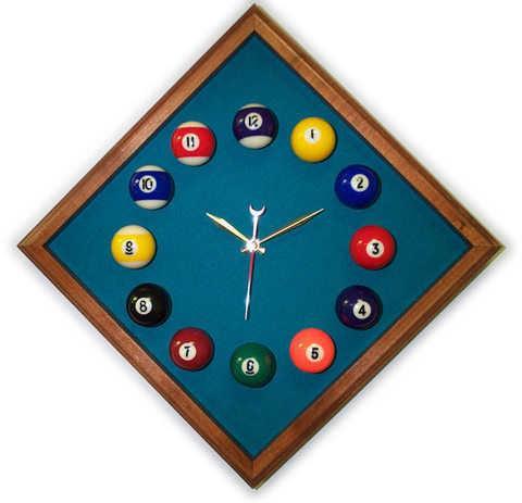 12in Diamond Billiard Clock Mahogany