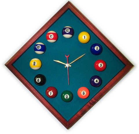 12in Diamond Billiard Clock Cherry