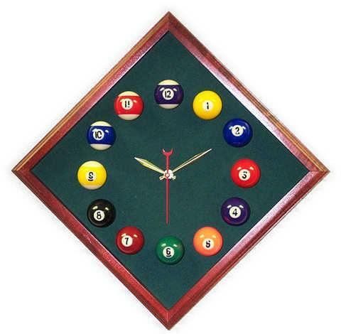 12in Diamond Billiard Clock Cherry