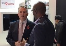 Briteyellow's Fredi Nonyelu with UK minister Liam Fox