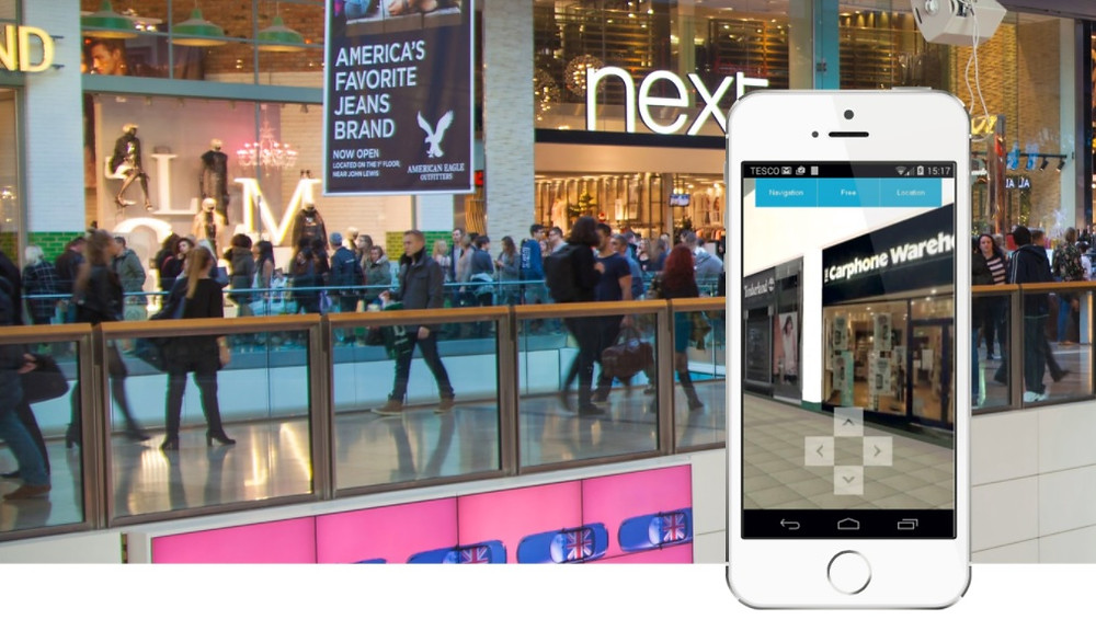 Image shows a retail unit in real life and in augmented reality