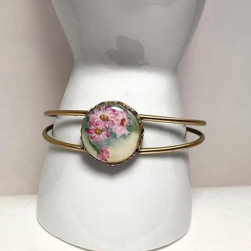 Antique Pink Flower Porcelain Button Cuff Bracelet