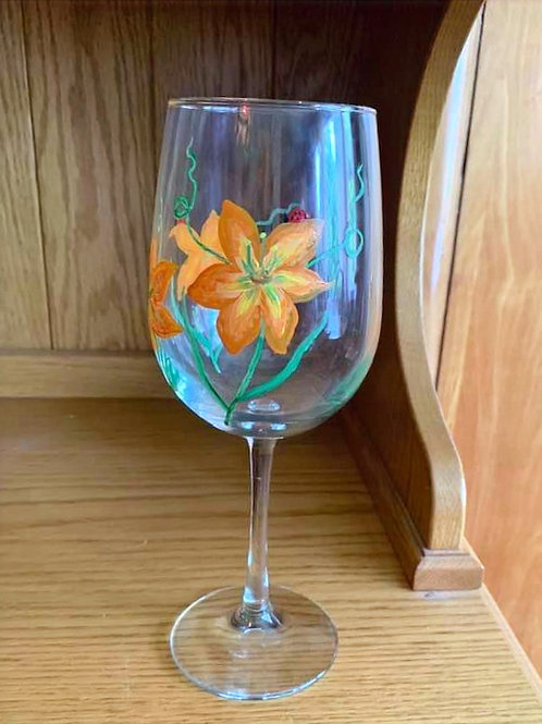 Hand Painted Wine Glass with a Lady Bug