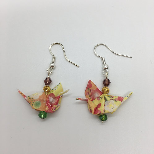 Earrings - Origami Cranes, Yellow, Peach and Pink with Designs