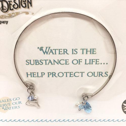 Sea Gems Silver-Tone Open Dolphin Bracelet