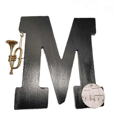 """""""M"""" is for Music Painted Wooden Letter"""
