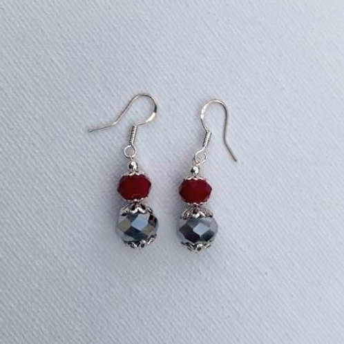 Red & Iridescent Glass Beads Sterling Silver Earrings