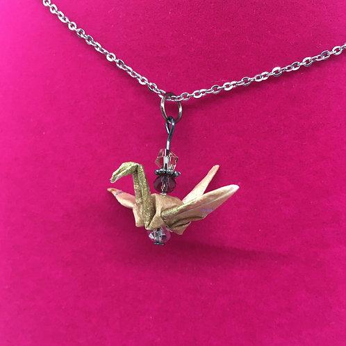 Necklace - Origami Crane Pendant, Gold