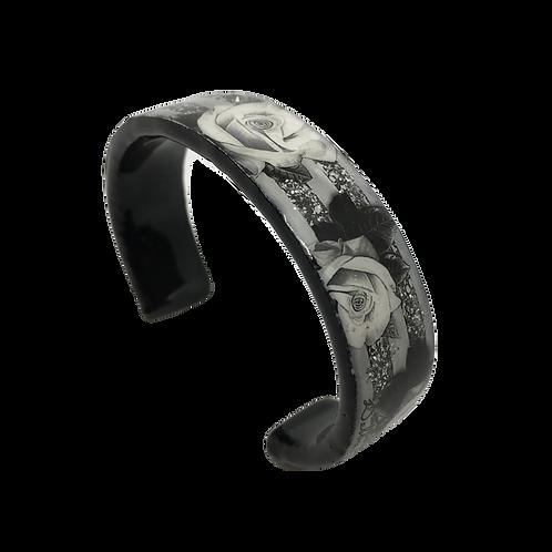 Nano Cuff Bracelet - Rose Stripe Black Silver