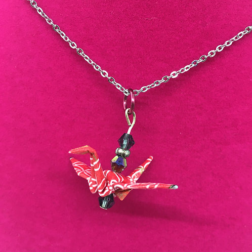 Necklace - Origami Crane Pendant, Red with White Flower Design